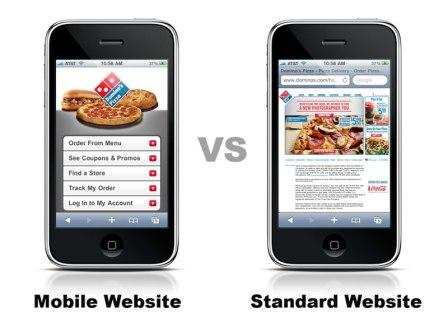 mobile website versus standard website