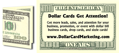 Dollar Bill Business Card, Sizzle Card, or Drop Card